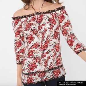 NEW WHBM Red Floral 3/4 Sleeve Off Shoulder Blouse